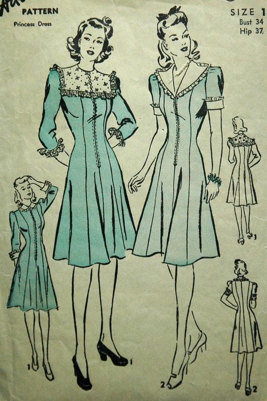1940's Advance Princess Dress Pattern - Bust 34
