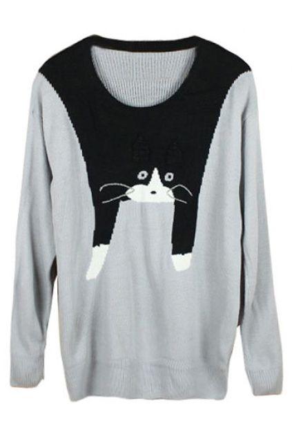 Romwe Cute Cat Crochet Long-sleeved Grey Jumper