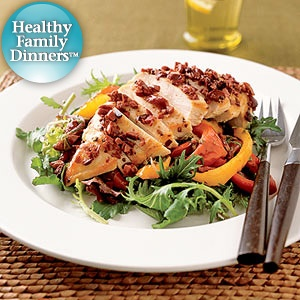 Chicken Breast with Roasted Peppers and Greens