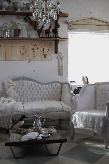 pretty white French antique furniture
