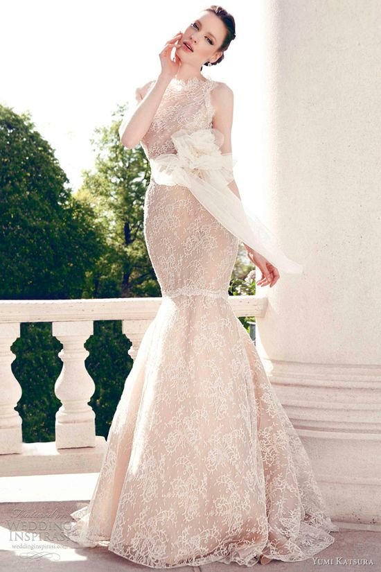 yumi katsura wedding dresses spring 2013 kai sleeveless lace fit flare mermaid gown