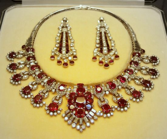 Ruby and diamond necklace and earrings    British Museum  Cartier London 1954