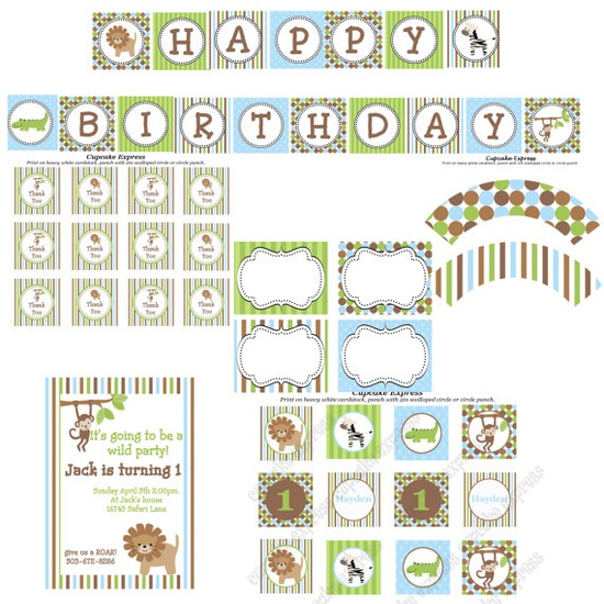 Safari or Jungle Printable Party package