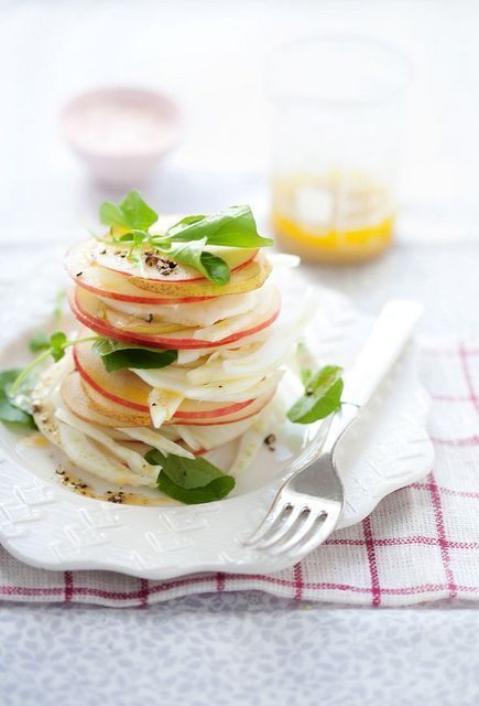 Pear, Apple, Fennel Salad by cannellevanille: Here is the recipe punchfork.com/... #Salad #Apple #Fennel