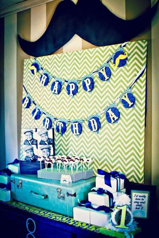 Birthday party table backdrop idea via Kara's Party Ideas karaspartyideas.com #party #backdrop #idea #birthday #ideas #mustache
