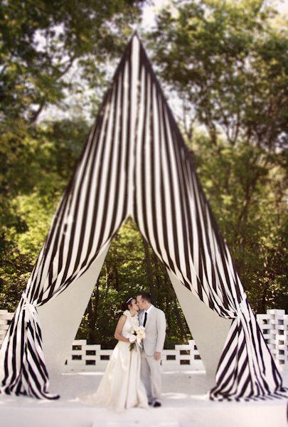 stripe tent for wedding ceremony