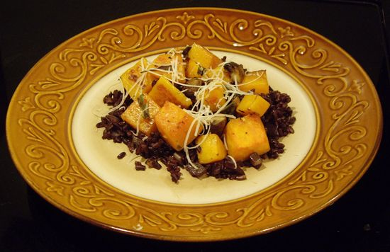 The Art of Cooking Real Food: Squash and Mushrooms with Black Japonica Rice