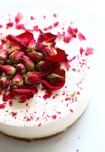 Gorgeous Rose Tea Cheesecake. #food #cheesecakes #desserts #Valentines