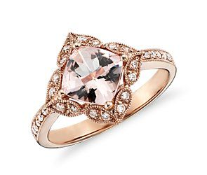 Vintage Morganite and Diamond Ring in 14k Rose Gold