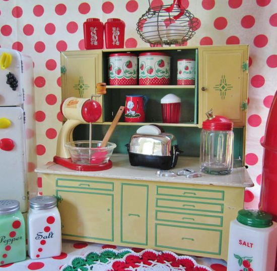 Vintage Tin Toy Kitchen Cupboard Green Play Child Wolverine Kitchen Toy