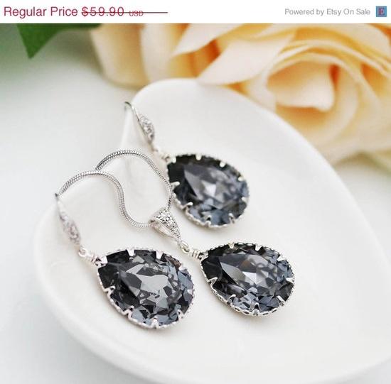 Silver Night Swarovski Crystal Tear drops Bridal Jewelry Set!