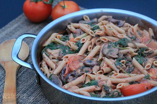 Spinach Mushroom Pasta with Creamy Tomato Sauce