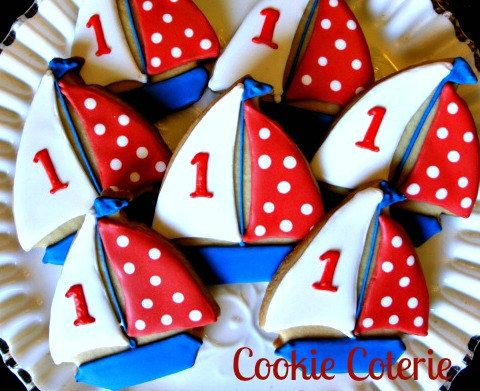 Sailboat Cookies Nautical Decorated Cookies by CookieCoterie, $28.00
