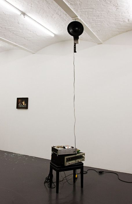 Alejandro Almanza Pereda  Death by Metal  2009. piano stool, Hi-Fi stereo, tape player, ashtray, cables, speaker, cleaver variable size