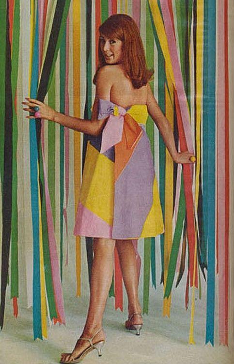 Model wearing a paper dress, 1960s.