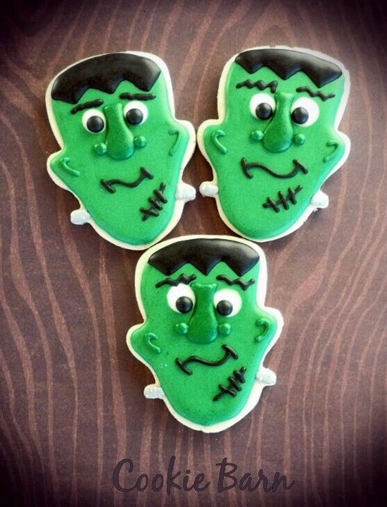 Halloween Frankenstein Decorated Cookies