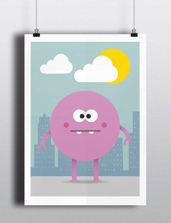 My Little Monster Pink Chancer Art Print  by HelloFridaysDesign, $25.00