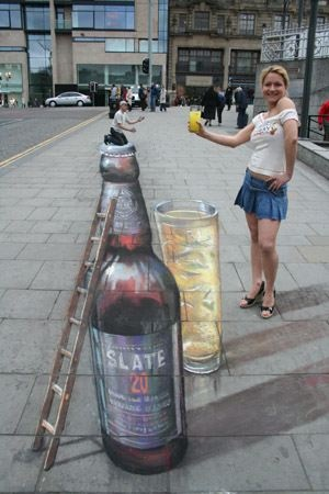 Julian Beever is an English artist who's famous for his art on the pavement of England, France, Germany, USA, Australia and Belgium Beever gives to his drawings an amazing 3D illusion.