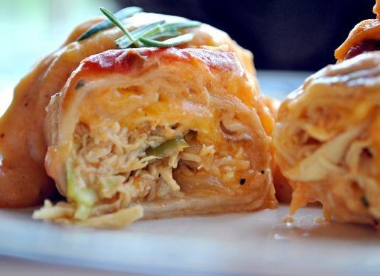 Sour cream chicken enchiladas.