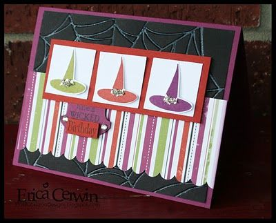 LOVE the colors on this handmade Halloween card - purple, green and red witch hats.  Perfect for Halloween or an October 31st birthday card