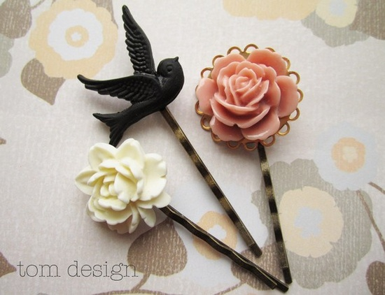 Hair pins.  Black bird and roses.