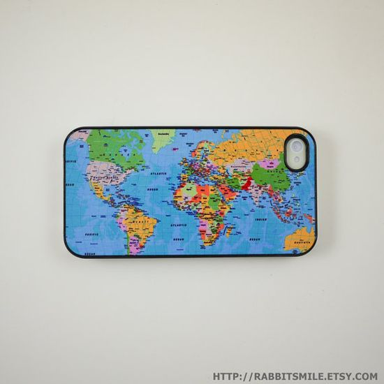 World Map iPhone 4s Case :D  Mine is on its way but will have white outline instead of black ?