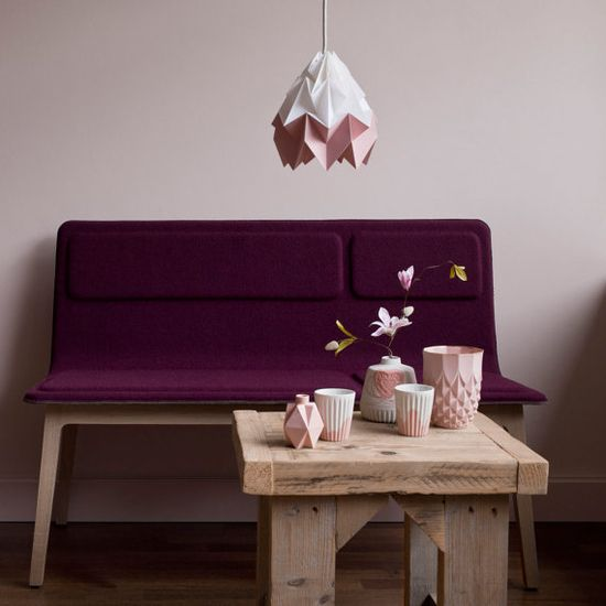 Thanks to Act Productions here is a beautiful picture of our new model 'Moth' in white and pink.   On the picture are some other products that we like: a Bench 'Lala' from Alki (&-design shop), ceramics of Lenneke Wispelwey.