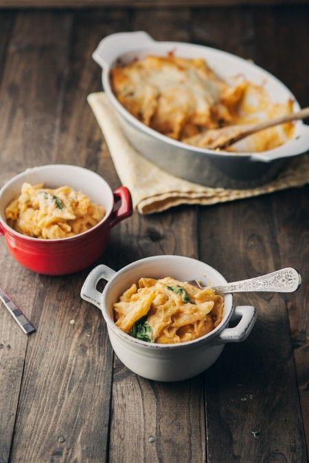 sweet potato spinach mac & cheese