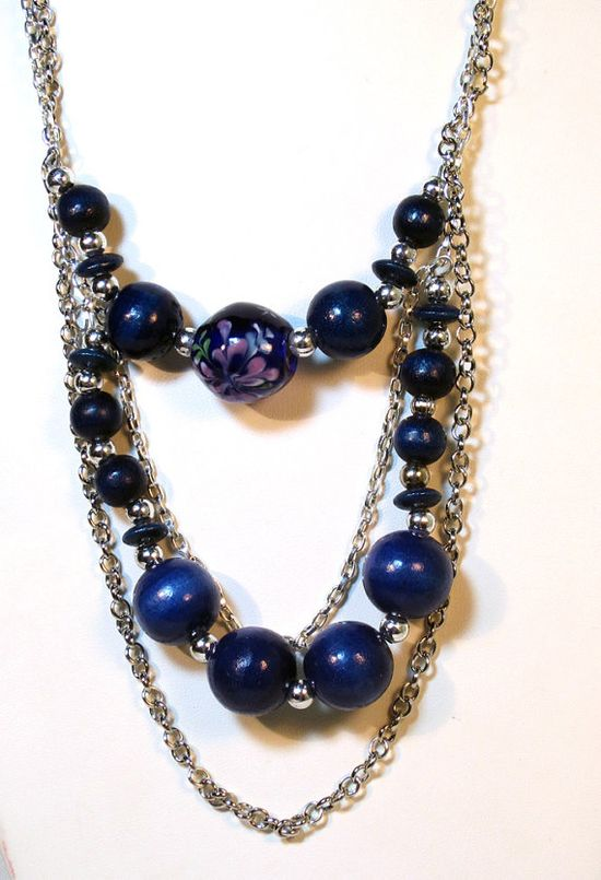 Blue Beaded Chain Statement Necklace Set by lindab142 on Etsy, $53.00