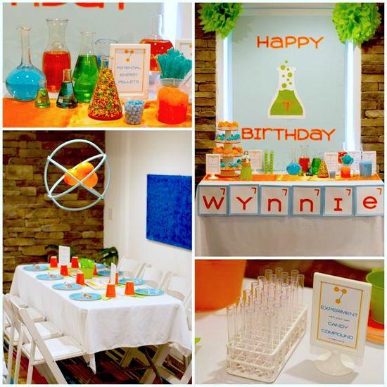 Science Themed 7th Birthday Party Kids Birthday Party Theme Boy Orange Green