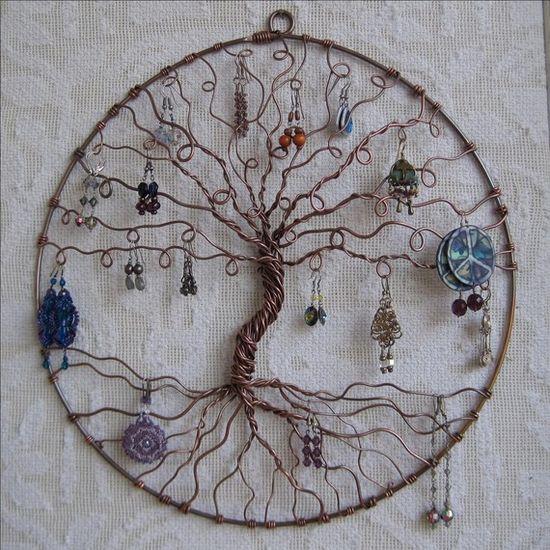 Tree of Life earring holder.  Pretty idea.