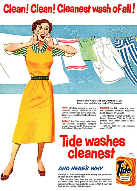 Clean! Clean! Cleanest of all! #vintage #1950s #laundry #ads #homemaker