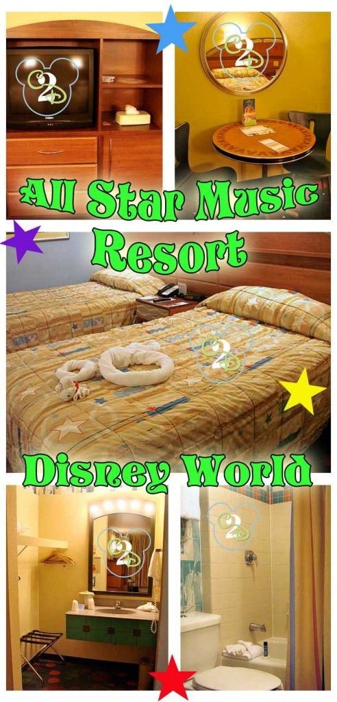 Walt Disney World's All Star Music is a low-cost on-site resort. It also has family suites that sleep up to 6. Great option for the large family on a budget. Pin now and dream about for the future.