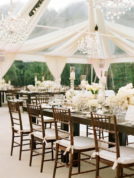 Tent: chandelliers, white folors and candles, wooden chairs, long tables, white drapes with clear tent. I love the idea of an outside wedding with a sheer tent like this one!!!!!!! don't really need dining room tables..