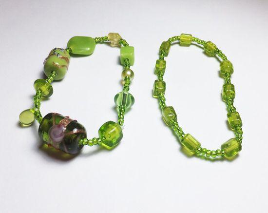 Peridot Green Glass Stretch Bracelet Set by Designs by Tamiza, tzteja on Etsy, $10.00 #jewelry, #bracelet, #beaded, #designsbytamiza, #noclasp, #handmade, #ooak, #green, #stretchbracelet, #peridot, #lightgreen, #glassbracelet