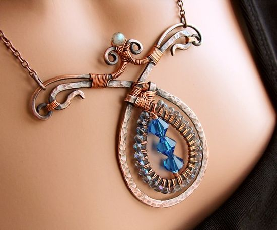 Harlequin Copper and Crystal Teardrop Necklace $165 by Sparkflight