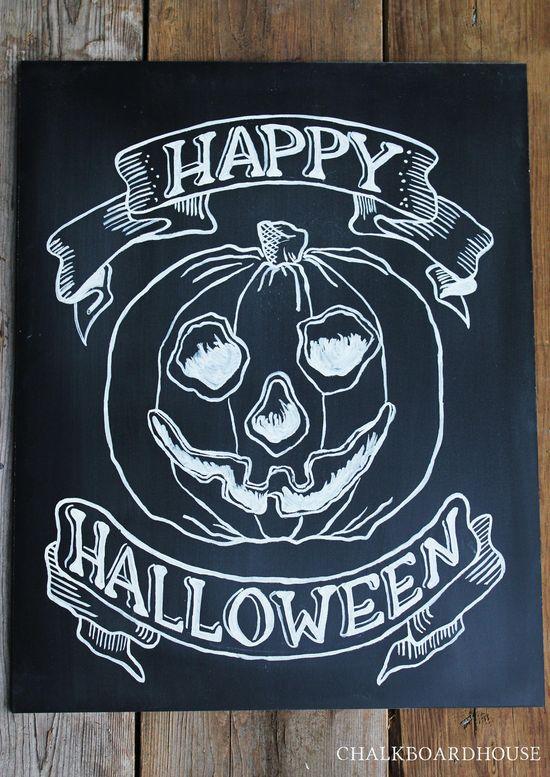 Hand Painted Chalkboard Halloween Sign - 16x20 Unframed Chalkboard Art. $65.00, via Etsy.  CHALKBOARDHOUSE.E...