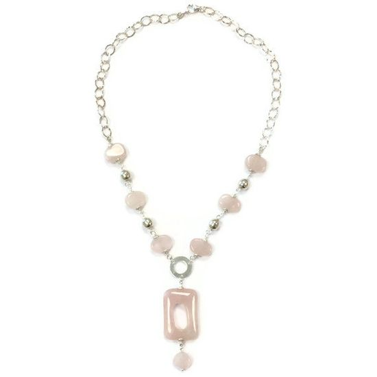 Pink Necklace Rose Quartz Necklace Sterling by jewelrybycarmal, $65.00