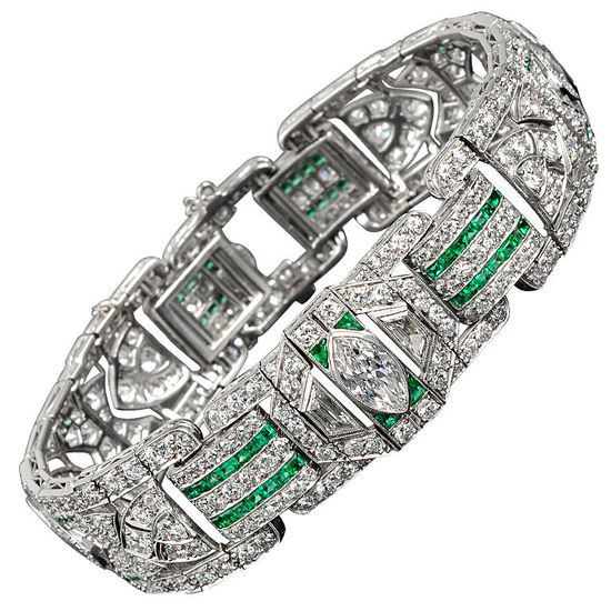 Platinum Art Deco Emerald & Diamond Bracelet