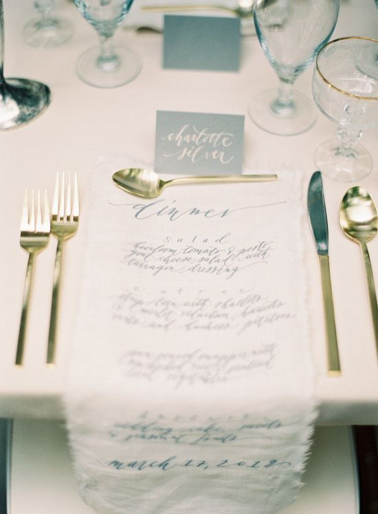 gorgeous cloth menu   Photography By / ryleehitchnerblog... Direction, Styling and Design By / jessicasloane.com