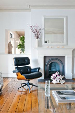 #Elegant #black #leather #armchair #placed in the #living #room