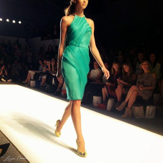 A gorgeous green look at #Lela Rose. #LaurenConrad #FashionWeek #nyfw