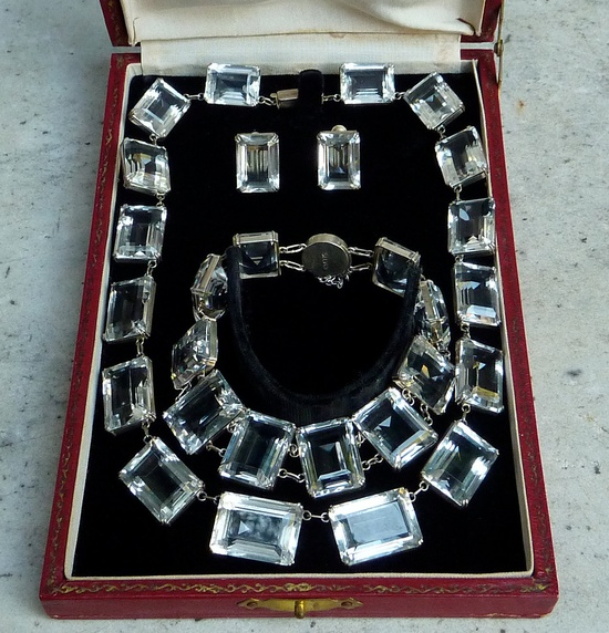 1920s Chunky Emerald Cut Rock Crystal Grand Parure Necklace Bracelet Earrings Set with Original Box.