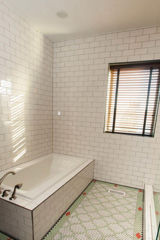 White bathroom with Moroccan flooring   #Interior  #Design  #Residential  #Eclectic #Founterior