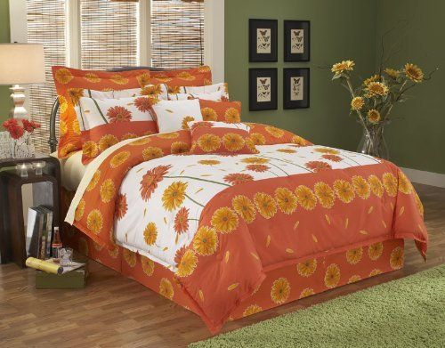Paramount Margaurite 14-Piece Super Pack, King by leggett & platt - home textiles. $175.40. This lively set can brighten any room with its large scale Gerber Daisy print in fiery orange with partial white background midway up the bed. Comforter 113-inch W by 97-inch L, 18-inch drop bed skirt. 3 Shams/2 18-inch accent pillow/1 small kidney pillow/ 3 euro pillows/ 3 euro inserts. This lively set can brighten any room with its large scale Gerber Daisy print in fiery orange...