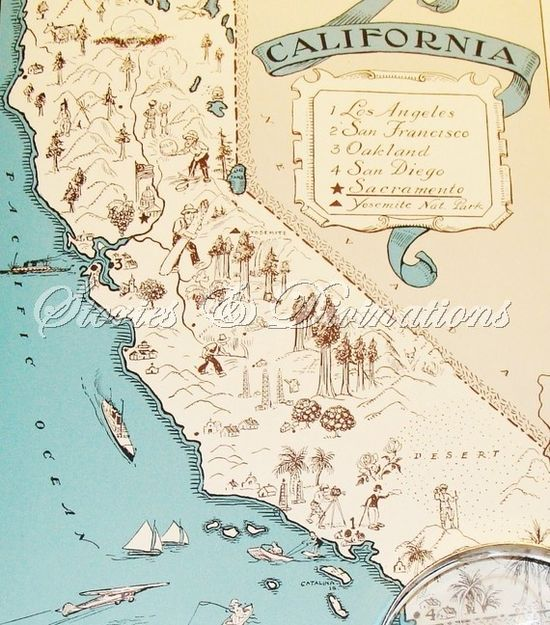 California - Vintage Map of California - Aqua - Cottage Chic - 1930s California - A Fun and Funky Little Picture Map of California to Frame. $21.00, via Etsy.