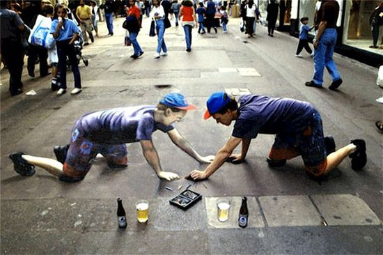 self portrait 3D sidewalk art  to real