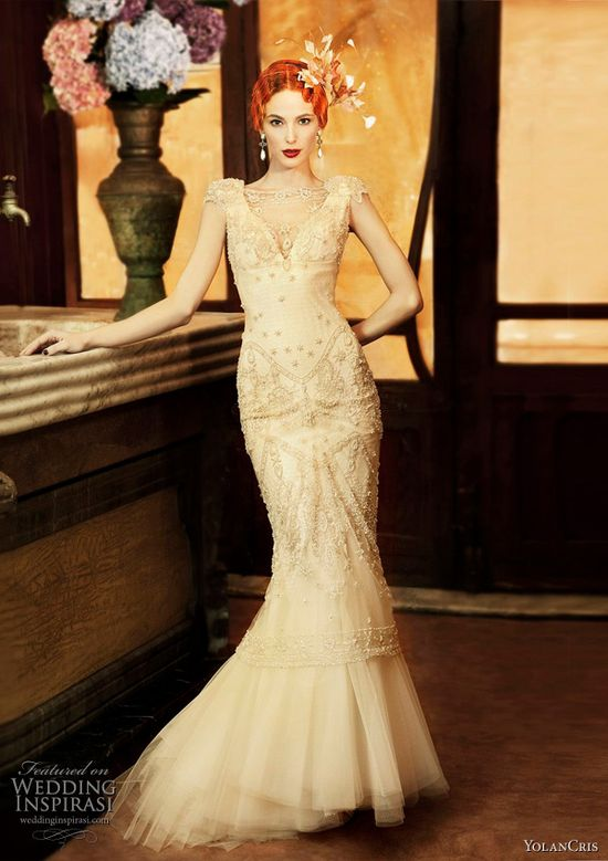 Gorgeous vintage inspired YolanCris wedding gown #Wedding #Dress #Gown #Bridal #Bride #Vintage #Inspired