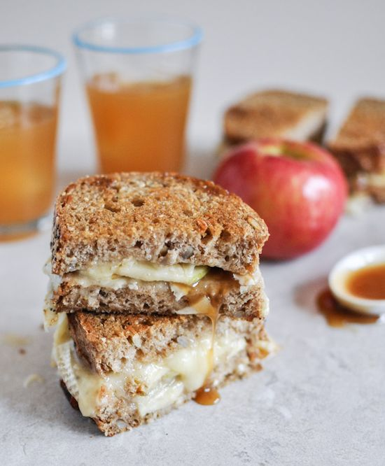 caramel and apple grilled cheese sandwich