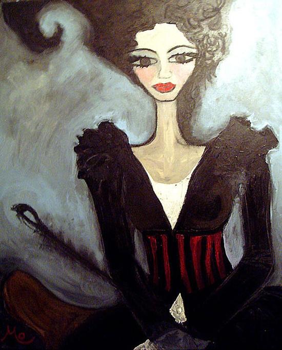 "Saatchi Online Artist: Mo Kelly; Acrylic, Painting ""The Phantom Listener"""
